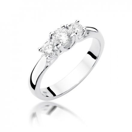 Biżuteria SAXO 14K Pierścionek z brylantami 0,49ct W-344 Białe Złoto