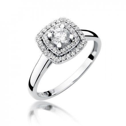 Biżuteria SAXO 14K Pierścionek z brylantami 0,50ct W-345 Białe Złoto