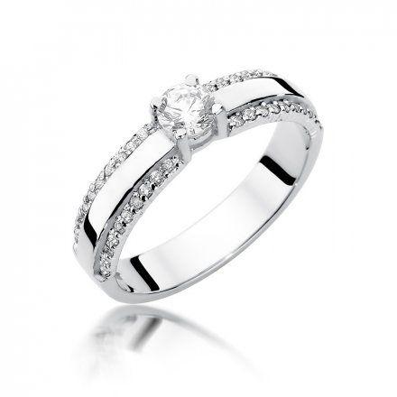 Biżuteria SAXO 14K Pierścionek z brylantami 0,45ct W-356 Białe Złoto