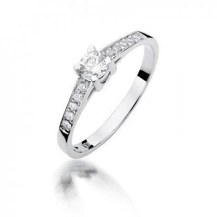 Biżuteria SAXO 14K Pierścionek z brylantami 0,44ct W-364 Białe Złoto