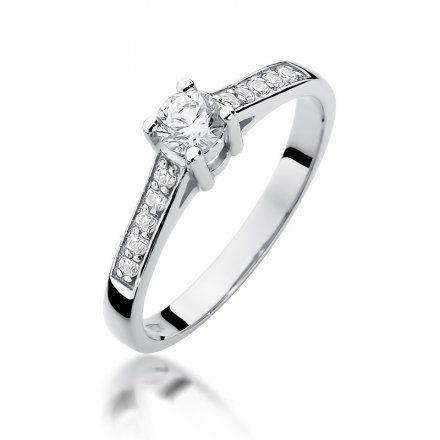 Biżuteria SAXO 14K Pierścionek z brylantami 0,42ct W-398 Białe Złoto