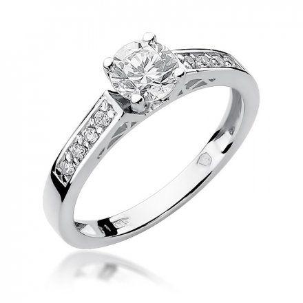 Biżuteria SAXO 14K Pierścionek z brylantami 0,42ct W-198 Białe Złoto