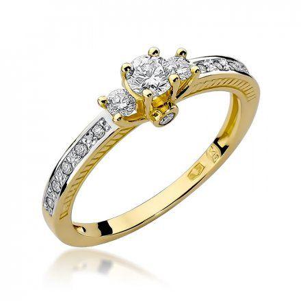 Biżuteria SAXO 14K Pierścionek z brylantami 0,42ct W-199 Złoty