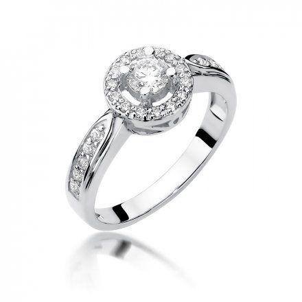 Biżuteria SAXO 14K Pierścionek z brylantami 0,51ct W-363 Białe Złoto