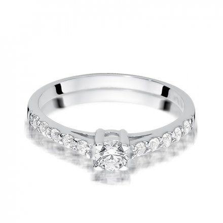 Biżuteria SAXO 14K Pierścionek z brylantami 0,60ct W-409 Białe Złoto