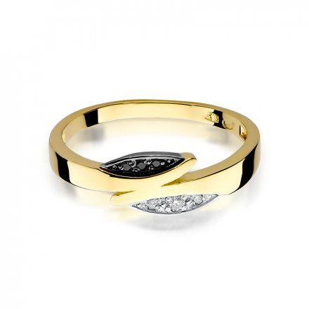 Pierścionek SAXO 14K z czarnymi brylantami 0,02ct W-107 Złoty