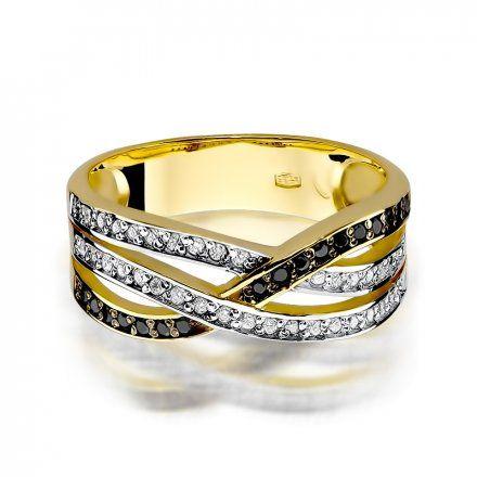 Pierścionek SAXO 14K z czarnymi brylantami 0,09ct W-215 Złoty