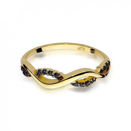 Pierścionek SAXO 14K z czarnymi brylantami 0,07ct W-96 Złoty
