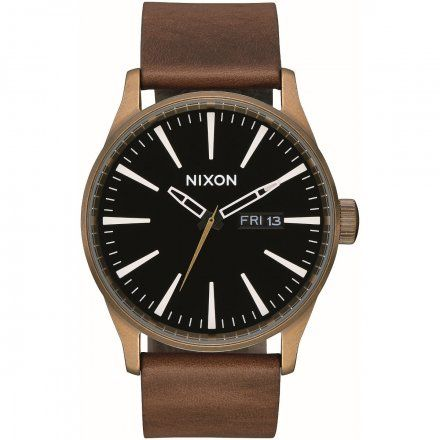 Zegarek Nixon Sentry 42 Leather BRASS/BLACK/BROWN - Nixon A1053053
