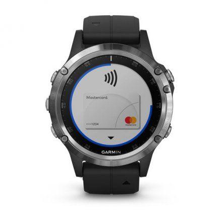 GARMIN Zegarek Fenix 5 Plus Srebrny z czarnym paskiem 010-01988-11