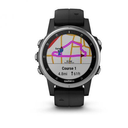 GARMIN Zegarek Fenix 5S Plus Srebrny z czarnym paskiem 010-01987-21