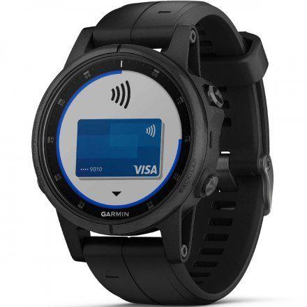 GARMIN Zegarek Fenix 5S Plus Sapphire czarny z czarnym paskiem 010-01987-03
