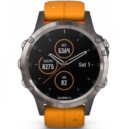 GARMIN Zegarek Fenix 5 Plus Sapphire Tytan z pomarańczowym paskiem 010-01988-05