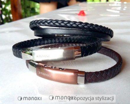 Biżuteria Manoki Skórzana bransoletka męska BA339A