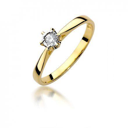 Biżuteria SAXO 14K Pierścionek z brylantem 0,05ct W-426 Złoty