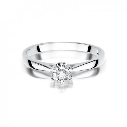 Biżuteria SAXO 14K Pierścionek z brylantem 0,05ct W-426 Białe Złoto