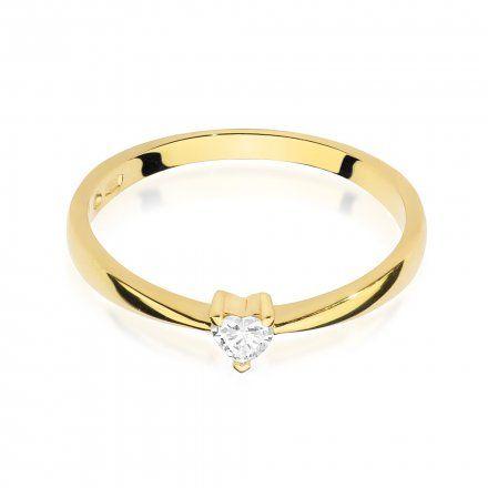 Biżuteria SAXO 14K Pierścionek z brylantem 0,10ct W-433 Złoty