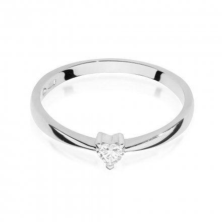 Biżuteria SAXO 14K Pierścionek z brylantem 0,10ct W-433 Białe Złoto