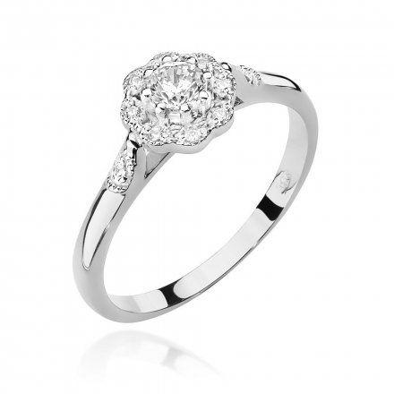 Biżuteria SAXO 14K Pierścionek z brylantami 0,28ct W-434 Białe Złoto