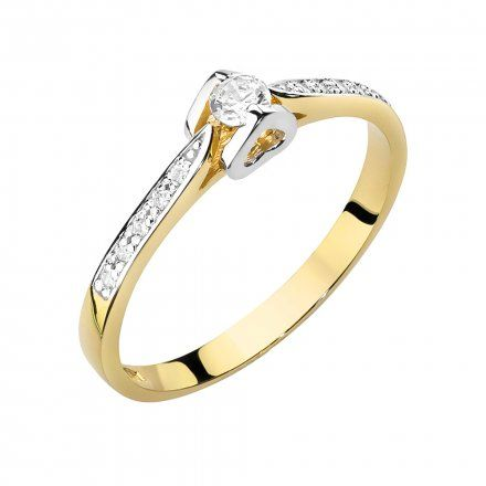 Biżuteria SAXO 14K Pierścionek z brylantami 0,15ct W-435 Złoty