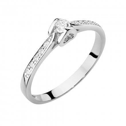 Biżuteria SAXO 14K Pierścionek z brylantami 0,15ct W-435 Białe Złoto