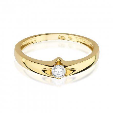 Biżuteria SAXO 14K Pierścionek z brylantem 0,12ct W-436 Złoty