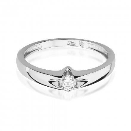 Biżuteria SAXO 14K Pierścionek z brylantem 0,12ct W-436 Białe Złoto