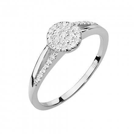 Biżuteria SAXO 14K Pierścionek z brylantami 0,18ct W-437 Białe Złoto