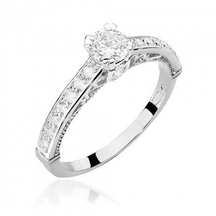 Biżuteria SAXO 14K Pierścionek z brylantami 0,56ct W-439 Białe Złoto