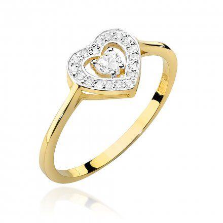 Biżuteria SAXO 14K Pierścionek z brylantami 0,19ct W-442 Złoty