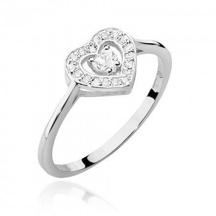 Biżuteria SAXO 14K Pierścionek z brylantami 0,19ct W-442 Białe Złoto