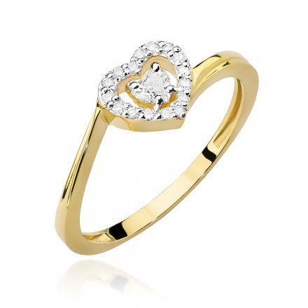 Biżuteria SAXO 14K Pierścionek z brylantami 0,18ct W-444 Złoty