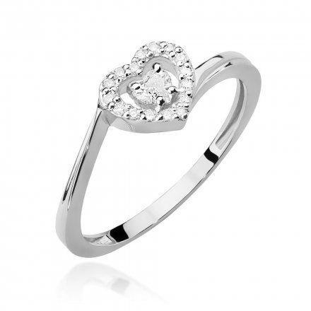 Biżuteria SAXO 14K Pierścionek z brylantami 0,18ct W-444 Białe Złoto