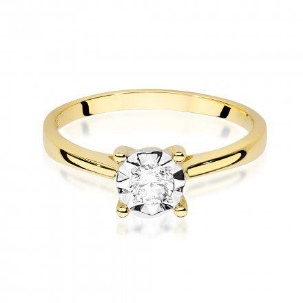 Biżuteria SAXO 14K Pierścionek z brylantem 0,20ct W-447 Złoty