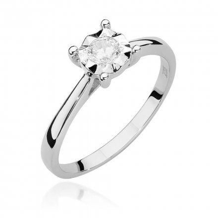 Biżuteria SAXO 14K Pierścionek z brylantem 0,20ct W-447 Białe Złoto