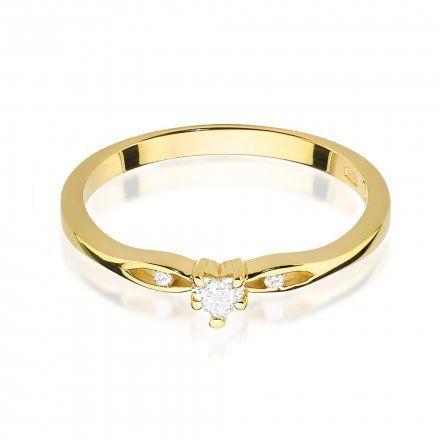 Biżuteria SAXO 14K Pierścionek z brylantem 0,12ct W-445 Złoty