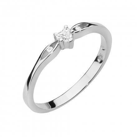 Biżuteria SAXO 14K Pierścionek z brylantem 0,12ct W-445 Białe Złoto