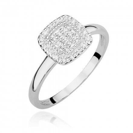 Biżuteria SAXO 14K Pierścionek z brylantami 0,13ct W-448 Białe Złoto