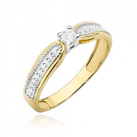 Biżuteria SAXO 14K Pierścionek z brylantami 0,17ct W-449 Złoty