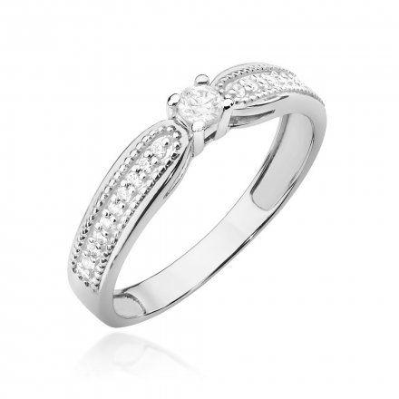Biżuteria SAXO 14K Pierścionek z brylantami 0,17ct W-449 Białe Złoto
