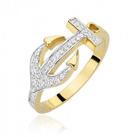 Biżuteria SAXO 14K Pierścionek z brylantami 0,20ct W-454 Złoty