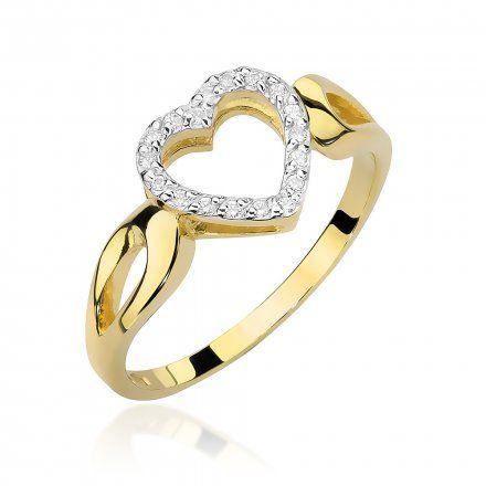 Biżuteria SAXO 14K Pierścionek z brylantami 0,09ct W-456 Złoty