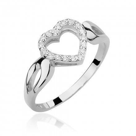 Biżuteria SAXO 14K Pierścionek z brylantami 0,09ct W-456 Białe Złoto