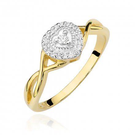 Biżuteria SAXO 14K Pierścionek z brylantami 0,13ct W-458 Złoty