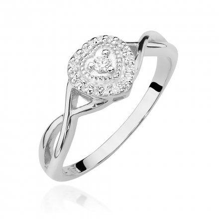 Biżuteria SAXO 14K Pierścionek z brylantami 0,13ct W-458 Białe Złoto