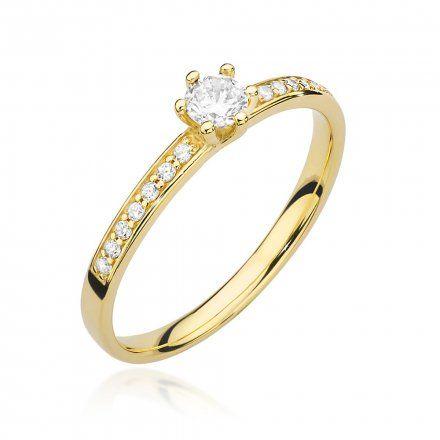Biżuteria SAXO 14K Pierścionek z brylantami 0,17ct W-459 Złoty