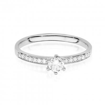 Biżuteria SAXO 14K Pierścionek z brylantami 0,17ct W-459 Białe Złoto