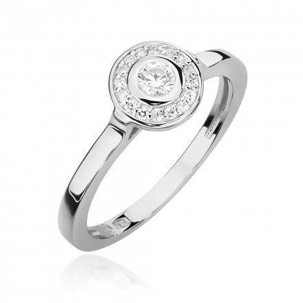 Biżuteria SAXO 14K Pierścionek z brylantami 0,20ct W-460 Białe Złoto