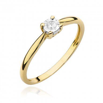 Biżuteria SAXO 14K Pierścionek z brylantem 0,08ct W-461 Złoty