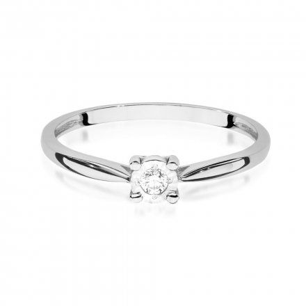Biżuteria SAXO 14K Pierścionek z brylantem 0,08ct W-461 Białe Złoto